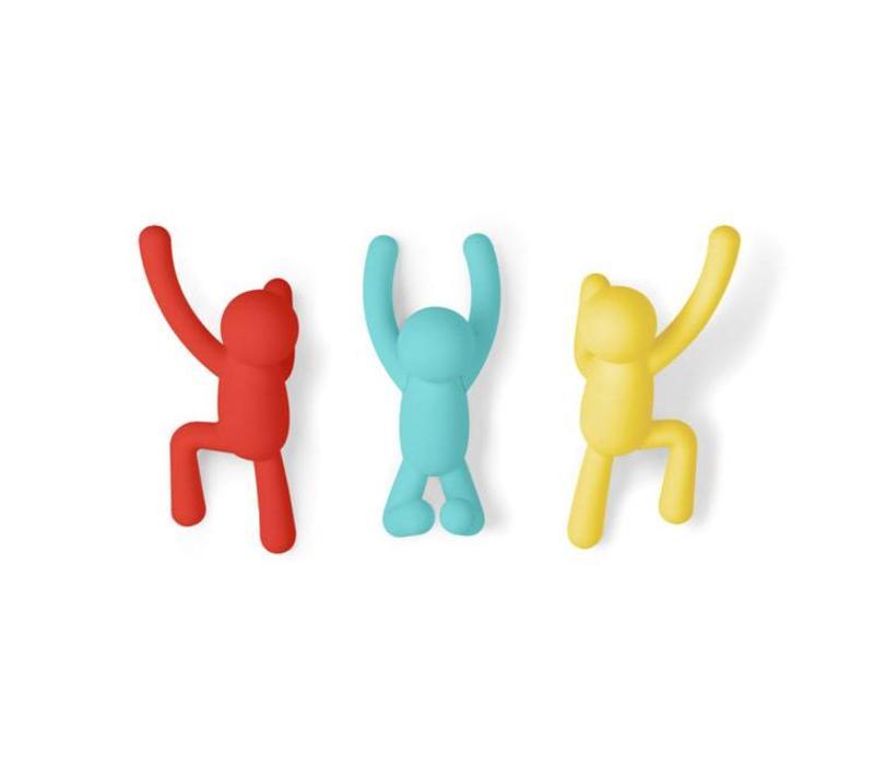 Umbra - buddy haken - rood, geel, blauw  (set van 3)