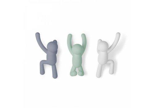 Umbra Umbra - buddy haken - grijs, groen, wit (set van 3)