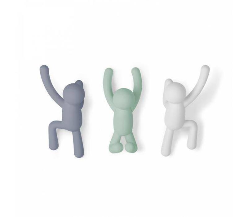 Umbra - buddy haken - grijs, groen, wit (set van 3)
