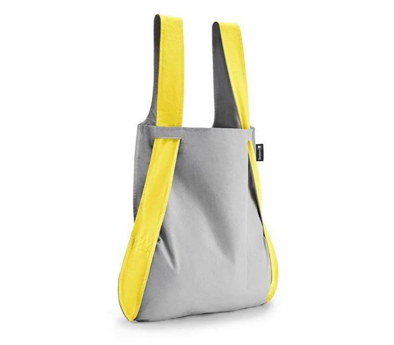 Notabag - opvouwrugtas - geel/grijs