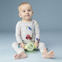 Snurk - baby jumpsuit - knitted flowers
