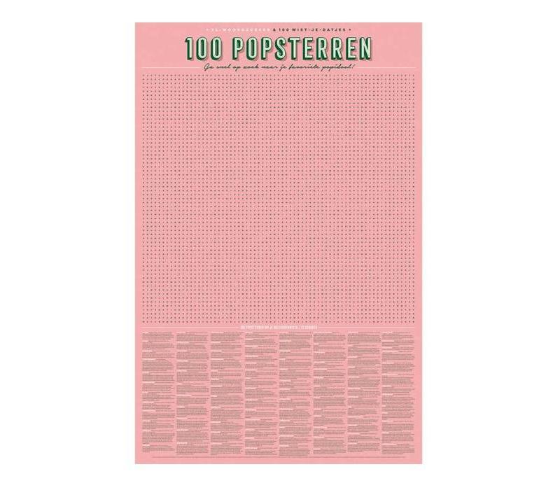 Stratier - xl spelposter - woordzoeker 100 popsterren