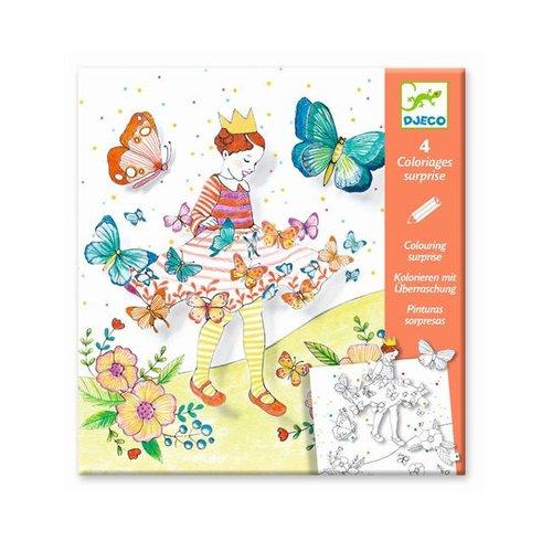 Djeco - kleurplaat met verrassing - lady butterfly