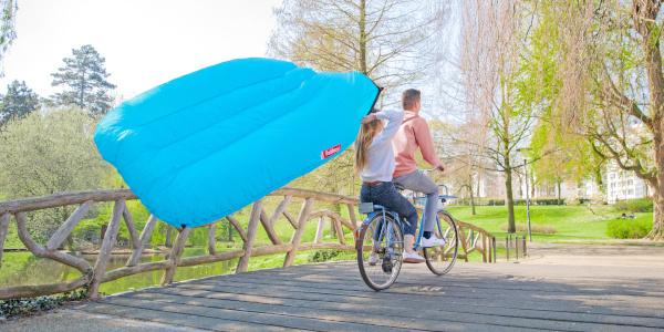 Lamzac opblazen op de fiets