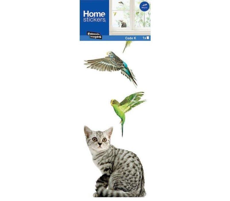 Nouvelles images - raamsticker - vogel en kat