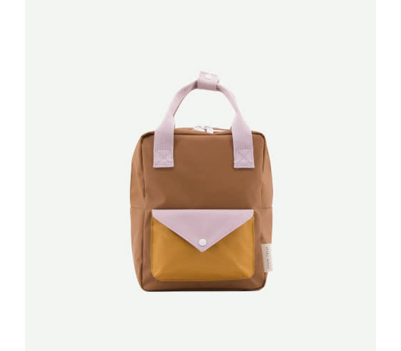 Sticky Lemon - rugzak envelope klein - sugar brown + violet + caramel fudge