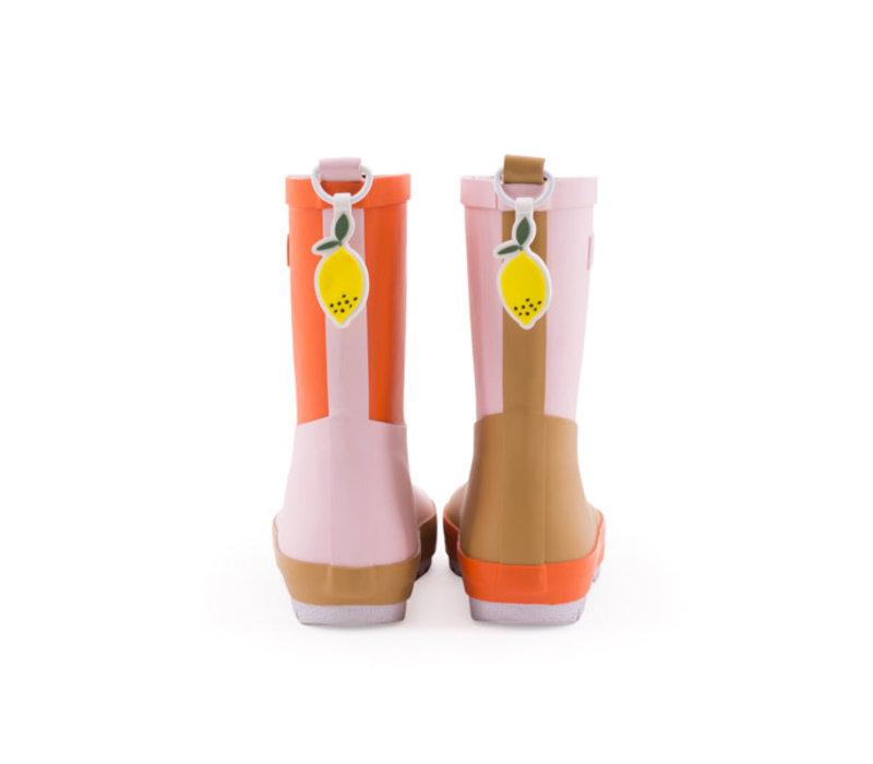 Sticky lemon - regenlaars - mendl's pink, panache gold en royal orange