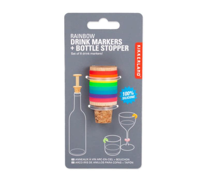 Kikkerland - glas markers en wijnstopper