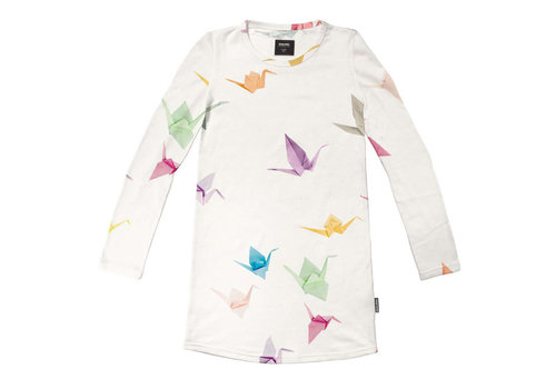 Snurk Snurk - long sleeve dress kids - crane birds
