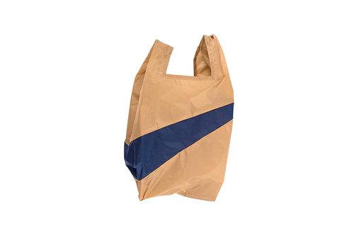 Susan Bijl Susan Bijl - shoppingbag m - camel & navy