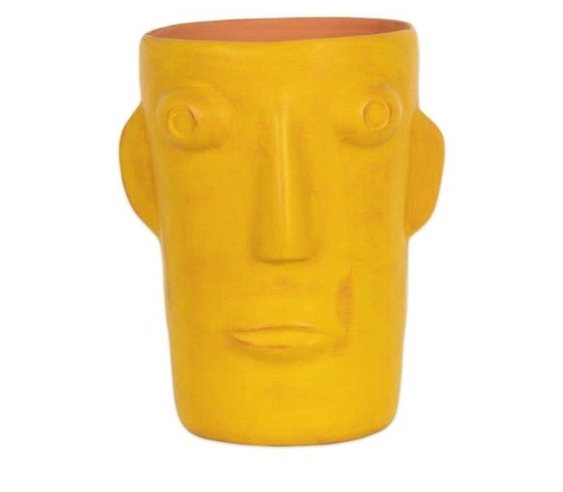 Kitsch kitchen - vaas cabeza - geel (maat L)
