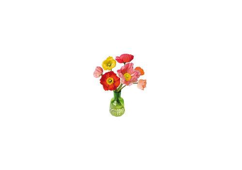 Flatflowers Flat flowers - ansichtkaart raamsticker - 020 - poppy
