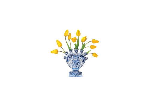 Flatflowers Flat flowers - ansichtkaart raamsticker - 014 - delft tulip yellow