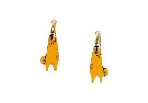Materia Rica Materia Rica - oorbellen furry buddies - hanging cat ginger