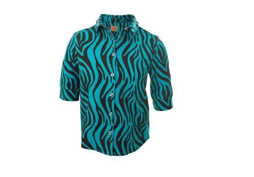 Mooi Vrolijk Mooi Vrolijk - blouse flashy - black and blue zebra