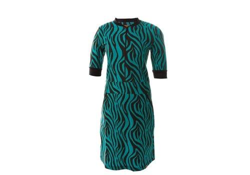 Mooi Vrolijk Mooi Vrolijk - dress zipper - black and blue zebra