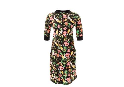 Mooi Vrolijk Mooi Vrolijk - dress zipper - black flowers
