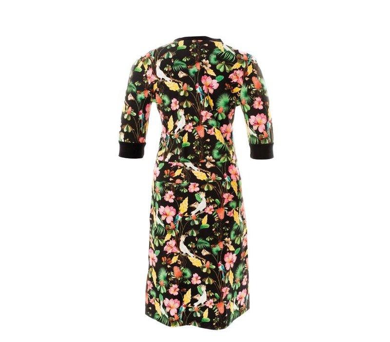 Mooi Vrolijk - dress zipper - black flowers