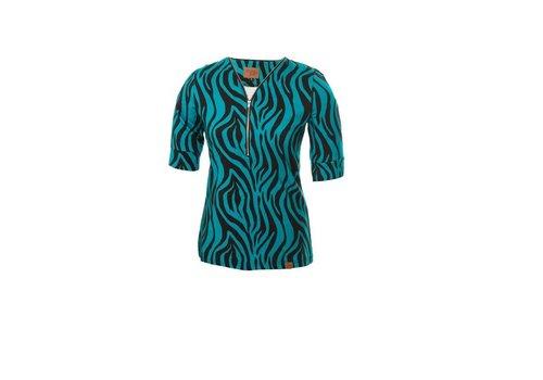 Mooi Vrolijk Mooi Vrolijk - top zipper - black and blue zebra