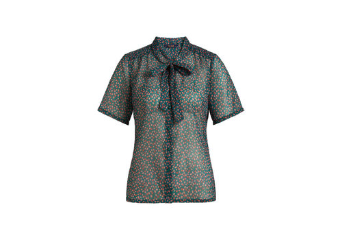 King Louie King louie - delia bow blouse coulisse voile - para green