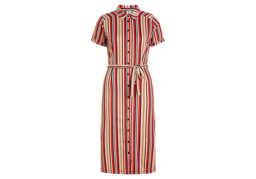 King Louie King louie - rosie slimfit dress lido stripe - chili red