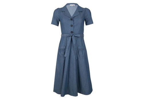 Very Cherry Very Cherry - revers dress midi - denim dots light blue