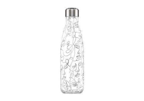 Chillys Chillys - thermosfles 500ml - line drawing face