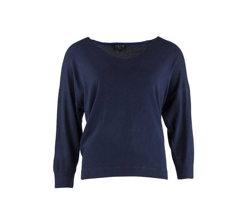 Zilch - sweater v-neck bamboe - navy