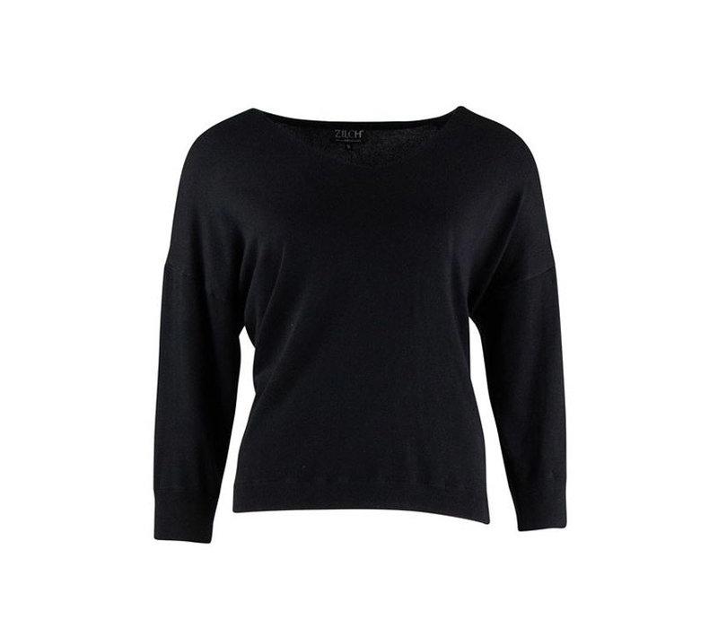 Zilch - sweater v-neck bamboe - black