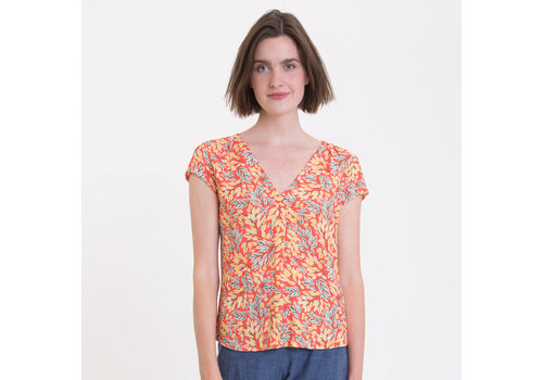 UVR Connected UVR connected - blouse rona - oranje met blaadjes