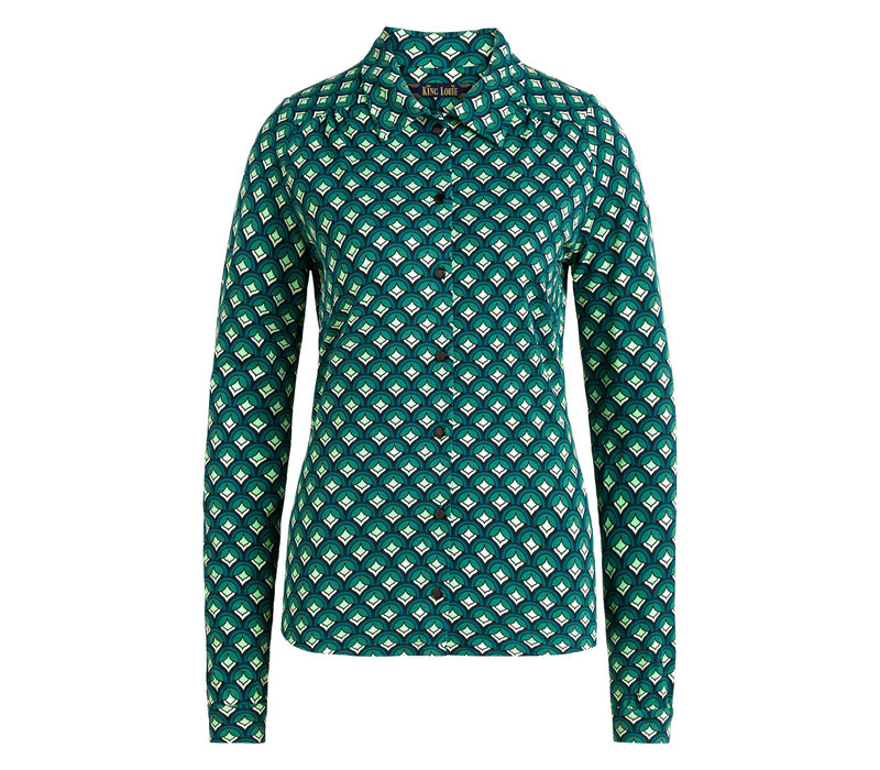 King Louie - blouse pose - dragonfly green