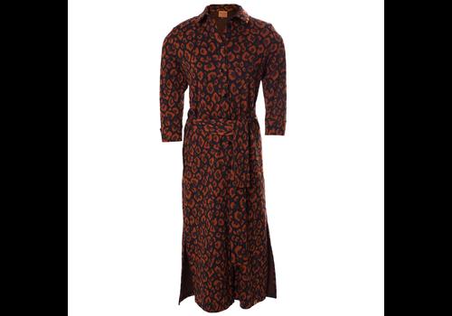 Mooi Vrolijk Mooi vrolijk - dress long - animal print rust brown