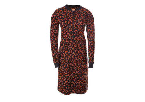 Mooi Vrolijk Mooi vrolijk - dress zipper - animal print rust brown