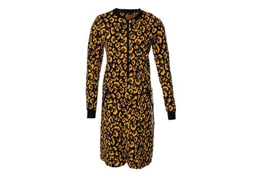 Mooi Vrolijk Mooi vrolijk - dress zipper - animal print ocher yellow