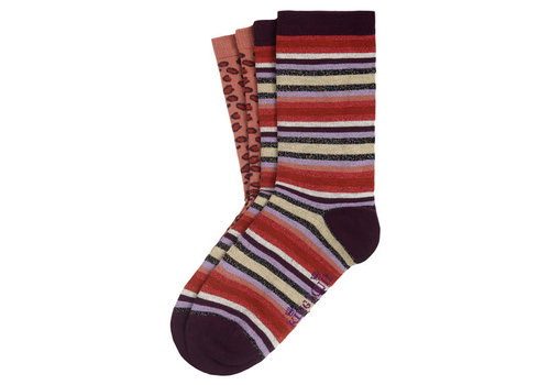 King Louie King Louie - socks 2-pack multi stripe - imperial purple