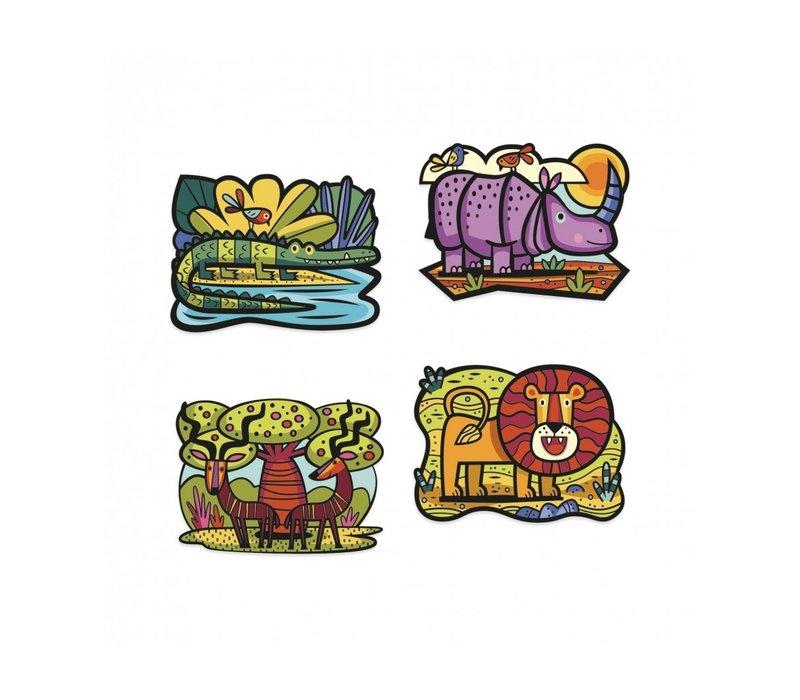 Djeco - velvet kleurplaten - animals of the savannah
