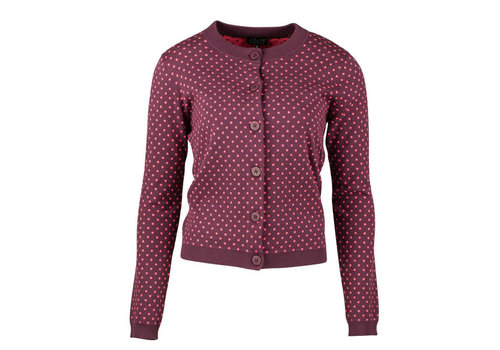 Zilch Zilch - cardigan cotton fancy knit - dots port