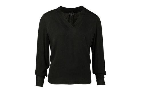 Zilch Zilch - top v-neck rayon chiffon - black