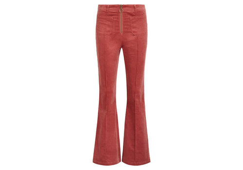 King Louie King Louie - ida front zip flared pants babyrib - velvet pink