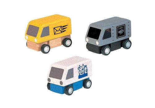 Plan Toys Plan Toys - houten bezorgauto's (set van 3)