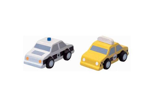 Plan Toys Plan Toys - houten taxi en politie auto