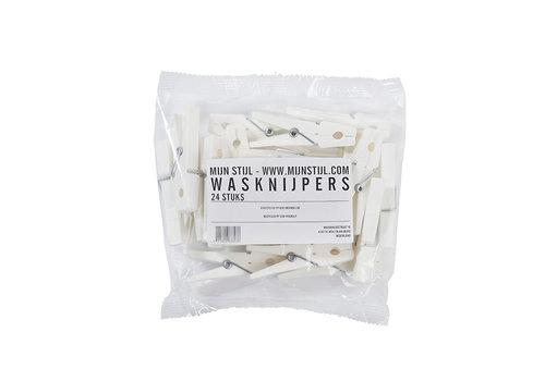 Mijn stijl Mijn stijl - wasknijpers - eco friendly wit (24 stuks)