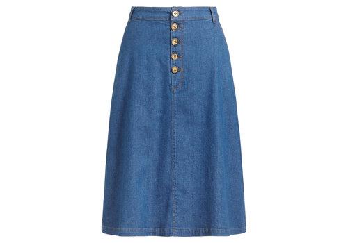 King Louie King Louie - high waist button skirt chambray - river blue