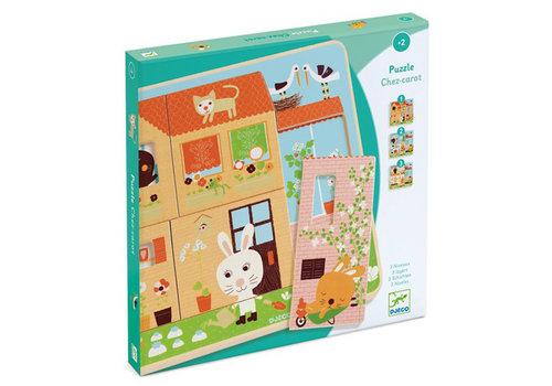Djeco Djeco - houten puzzel - chez-carrot (3 lagen)
