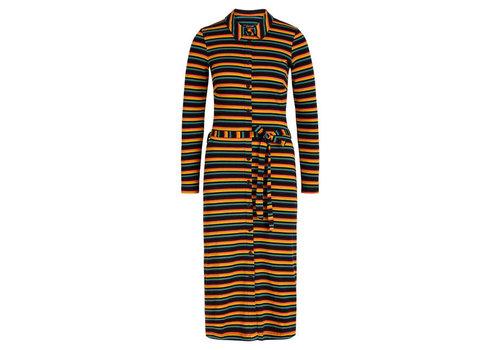King Louie King Louie - rosie slim fit dress jardin stripe - black