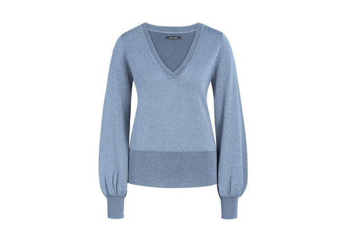 King Louie King Louie - v neck bell sleeve top lapis - grey blue