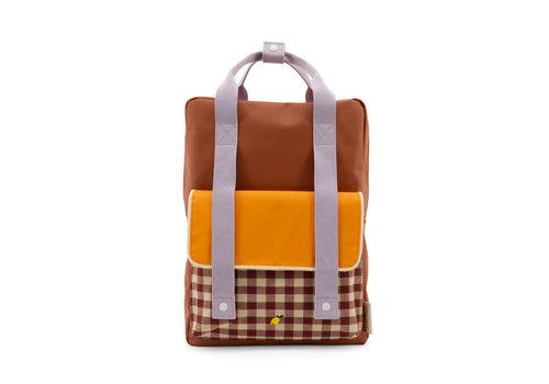 Sticky Lemon Sticky Lemon - backpack large - gingham chocolate sundae + daisy yellow + mauve lilac