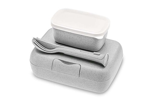 Koziol Koziol - lunchbox candy ready (met bestekset)- organic grey