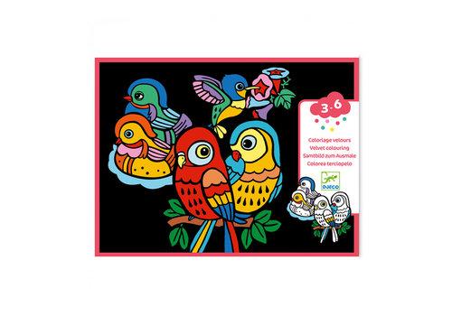 Djeco Djeco - velvet kleurplaten - baby vogeltjes