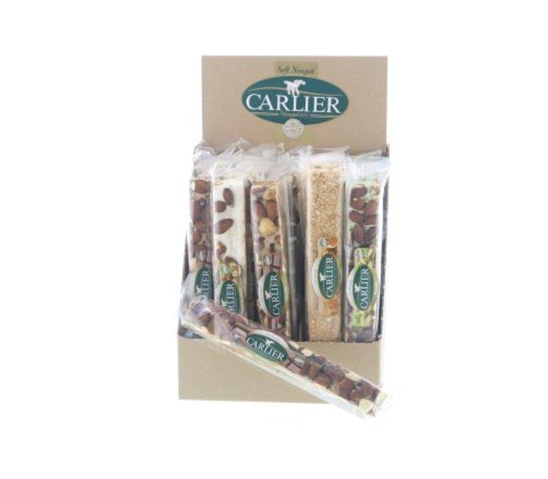 Carlier display nougat reep mix traditioneel 100g 25st